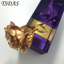 24k Gold Rose Lover's Flower Gold Dipped Rose(Open, Bud) Wedding Ornament Wholesale With Gift Box