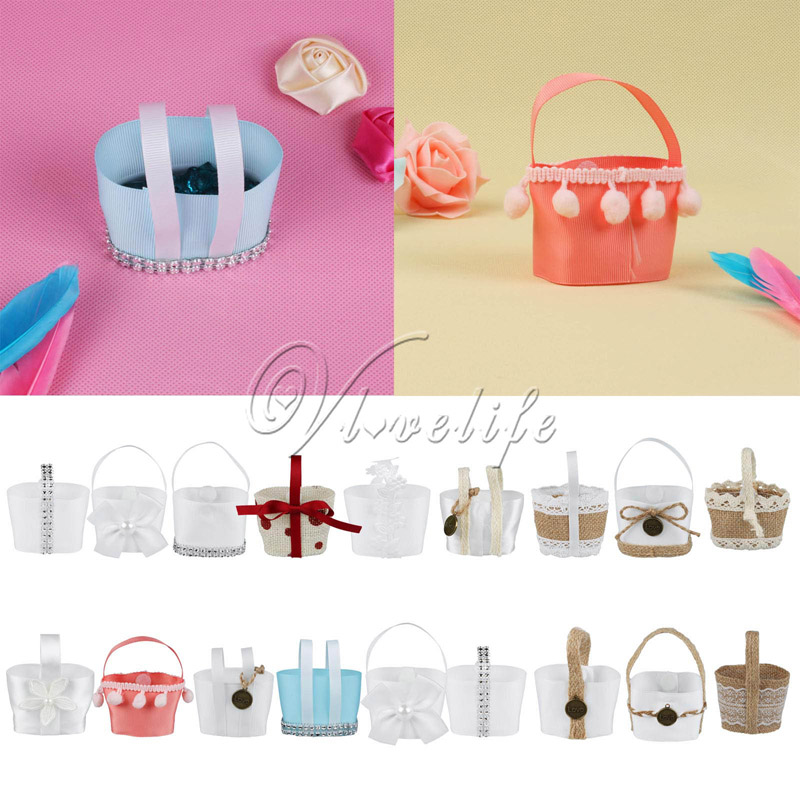 50Pcs/lot Handmade Wedding Favor Candy Basket Boxes Mini Hanging Flower Basket For Kids Birthday Candy Box Gitfs Boxes Bags(China (Mainland))