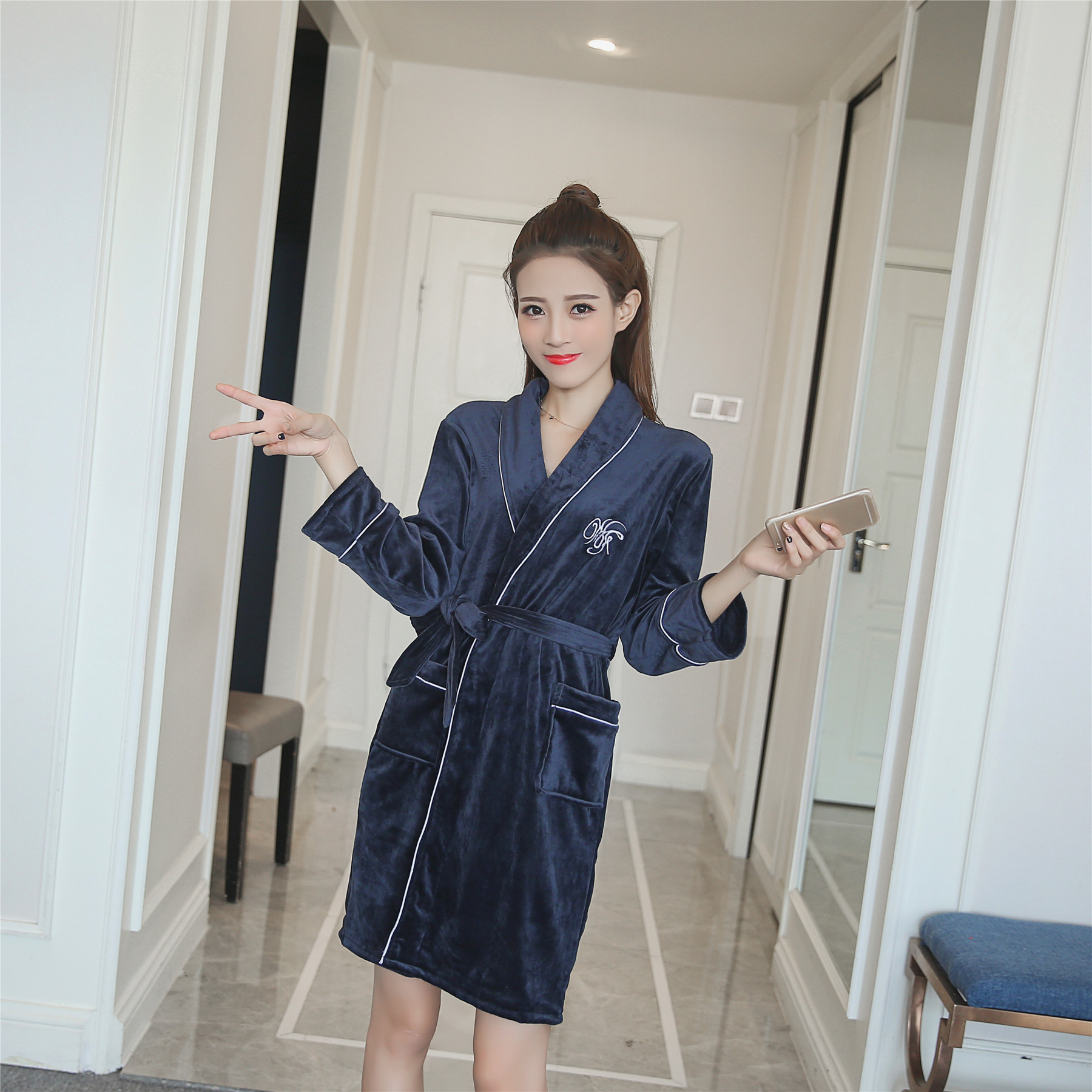 Autumn  Femme Capuche Women Badjas Night-robe Winter Women's Long Gown Lady Men Badjas Dames Hotel Bridal Warm Robes