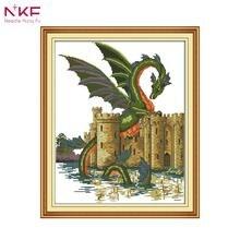 NKF Бесплатная доставка 14ct 11ct Счетный и печатью дракон и замок вышивки крестом Наборы Вышивка DIY для украшения дома d929(China)