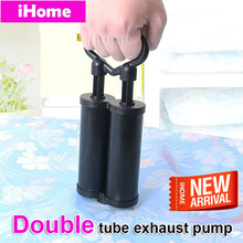 Double Tube Vacuum Handle Pump for Compressed Vacuum Bags Portable Pump Hand Air Vacuum Pump Space Saving Storage Bag