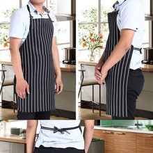 1 Pcs Striped Kitchen Restaurant Cooking Aprons For Women With Pocket Work Apron Waterproof Waiter Kitchen Cook Tool