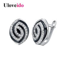Uloveido Black Enamel Evil Eye Earrings for Women Black Stud Earring Woman Silver Color Earings with An Eye Jewelry 5% Off R308