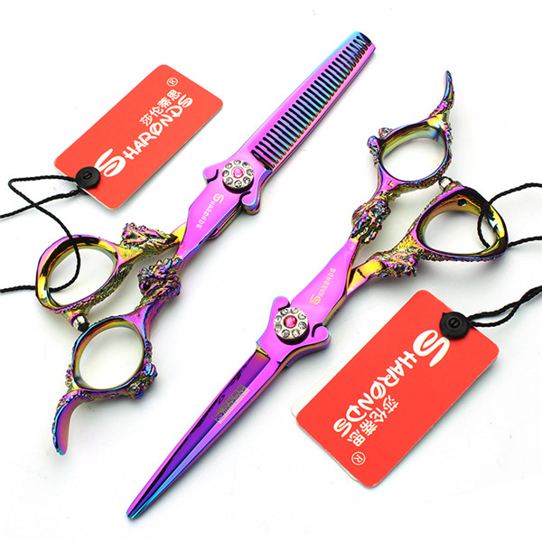 SHARONDS 6 inch Professional Hair Scissors Hairdressing Barber Hair Cutting Scissors Thinning Scissors suit<br>