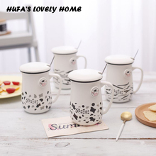 Cute Cow Style Ceramic Personality Mug With Lid Spoon Copo Milk Tea Water Ceramic Coffee Mugs Cups Porcelain Drinkware Gift
