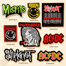 8pcs/lot Misfits Slipknot Nirvana Iron On Patch Embroidered Applique Sewing Clothes Stickers Garment Apparel Accessories Badges