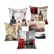 Black and white London City Retro Red bus and Telephone Boxes Car Decorative Throw Pillowcase Pillow cases Cushion Covers Sofa