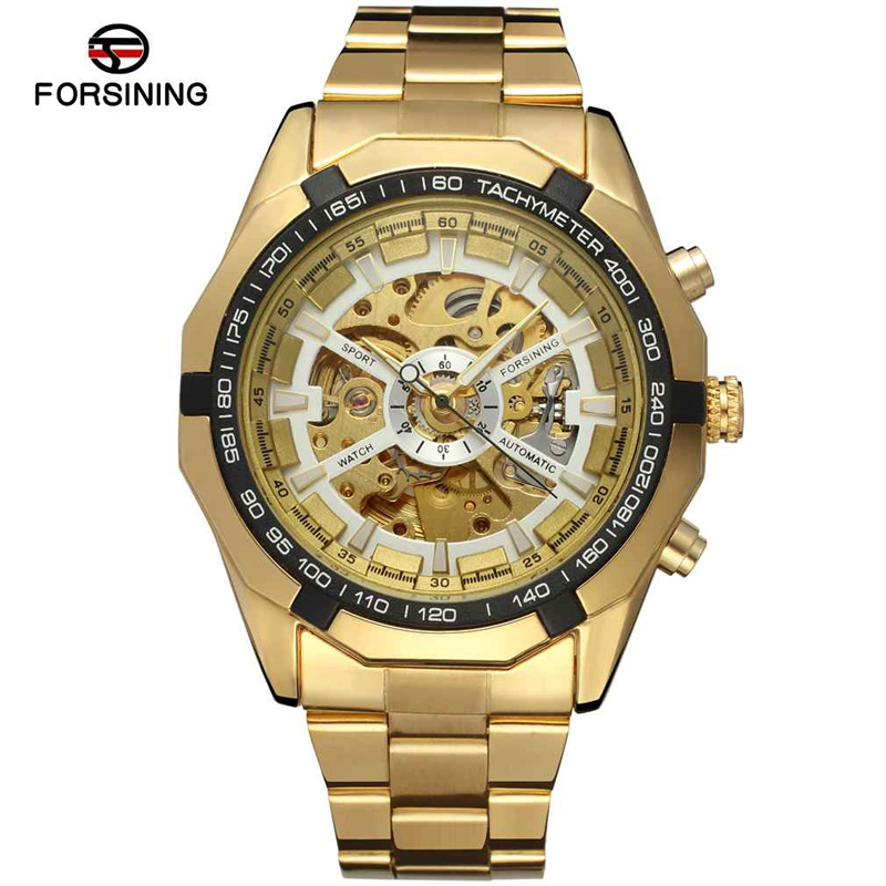 Relogio Masculino FORSINING Mens Watches Top Brand Luxury Full Steel Men Mechanical Watch Gold Skeleton Male Sport Wristwatches(China (Mainland))