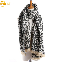 [POBING]Luxury Brand Winter Scarf Women New Design Leopard Print Pashmina Soft Cashmere Scarves Female Shawls Wraps Lady Stole(China)