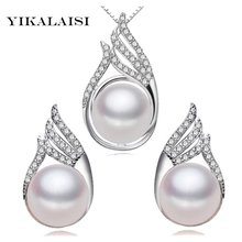YIKALAISI 2017 Necklace Pearl Jewelry sets Natural Pearls Princess 925 sterling Silver jewelry For Women gift necklace earrings
