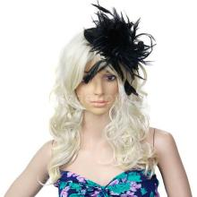 Ladies Mini Top Hat Costume Hair Clip w/ Feather - Black