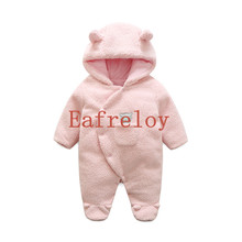 Eafreloy Newborn Baby Clothes Bear Onesie Baby Girl Boy Rompers Hooded Plush Jumpsuit Winter Overalls For Kids Roupa Menina G255