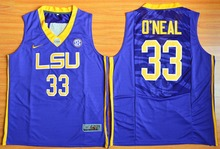 NIKE LSU Tigers Shaquille O'Neal 33 College Jersey Ice Hockey Jerseys - Gold Size S,M,L,XL,2XL,3XL(China)