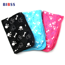 Paw Bone Printed Pet Cat Dog Floor Mats Beds Winter Breathable Fleece Cover Houses Carpet for Dogs Pet Animals Goods(China)