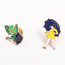 free shipping fashion women New Jewelry wholesale In the rain girl plant creative collar needle brooch corsage micro chapter
