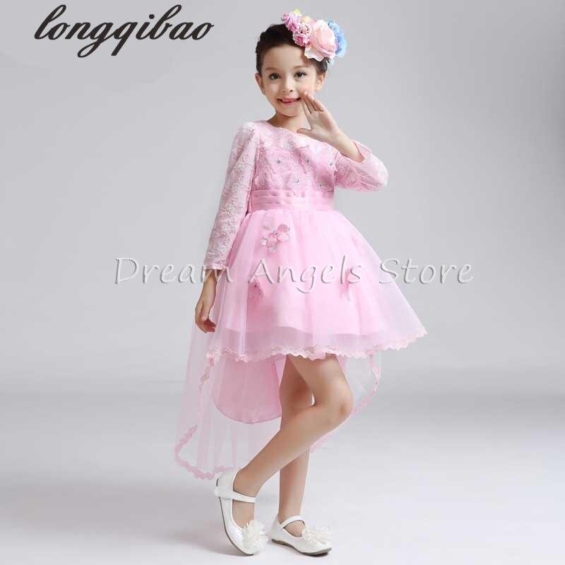 Top quality Girls long sleeved dress princess childrens evening dress flower girl dress wedding dress performances<br>