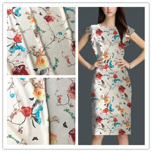 Beautiful flower with butterfly printed fabric for sewing Fashion cloth for summer dress Garment accessories (ss-k0005)(China)