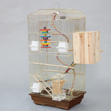 Luxury Gold-plated Large Bird Cages Houses Big Metal Iron Parakeet Cockatiel Parrot Cage Birds Aviary Pet Carrier A06-Gold(China)