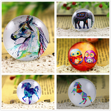 Hot Sale 5pcs/Lot 25mm Handmade Elephant and Horse and Owl Photo Glass Cabochons Pattern Domed Jewelry Accessories Supplies(China)