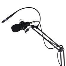 Professional Broadcasting Microphone Cardioid Recording Condenser Microphone Large Diaphragm with Arm Stand Bracket for Karaoke