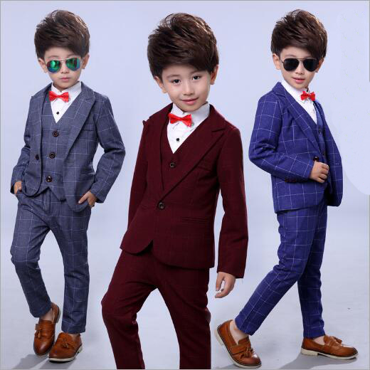 GARYDUCK 4pcs Boys Clothing Sets for Weddings Cotton Plaid Blazer+Vest+Pants+Shirt Boys Suits Children Formal Suits, BE244<br>