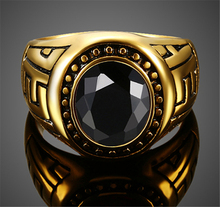 Antique old Plated Vintage Black Stone Rings gold old Filed Titanium Steel Rings For Men Bague Decorative Pattern Fine Jewelry(China)
