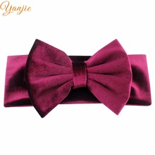 "Party 5"" Big Smooth Velvet Kids Girl Hair Bow Elastic Headband Fall/Winter Warm Headwrap Birthday Party Hair Accessories(China)"