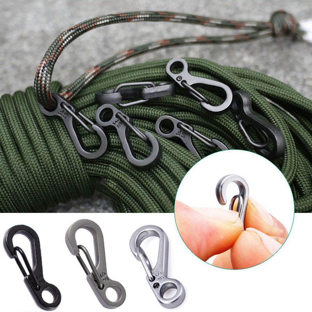 5PCS Black Stainless Split Key Ring Clasps Clips Hook EDC Backpack Tactical