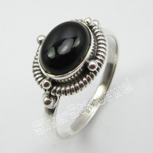 92.5% Solid  Silver Natural BLACK ONYX RING SIZE 8.5 ! Jewelry for Her