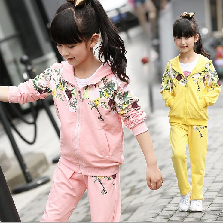 Breathable Hooded Sports Suit Print Floral Children Clothing Full Sleeve Conjunto Infantil Menina Graceful Baby Girl Clothes<br>