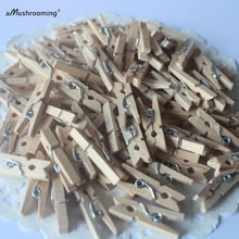 "50 x Mini Wood Spring Clothespins Clips 25 mm (1""), decoration miniature craft Memo Clip Set Good Condition Elegant Package"