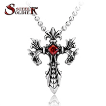 Steel soldier Wholesale Jewelry Charm Necklace Pendants Red & Black CZ Cross Jewelry woman and Man stone Sword BP8-085