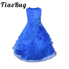 TiaoBug Kids Girls Embroidered Flower Girl Dresses Formal Princess Party Gown for Children Prom Gown Wedding Tea-Length 4-14Y(China)