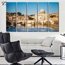 Home Painting Saint Peter's Basilica Canvas Art Print Large Wall Pictures Vatican City Landscape PAINTINGS Decor 5 Pcs No Frame