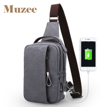 Muzee Canvas Men Shoulder Crossbody Waist Pack Three color Options Sling Bag&Chest Bag(China)