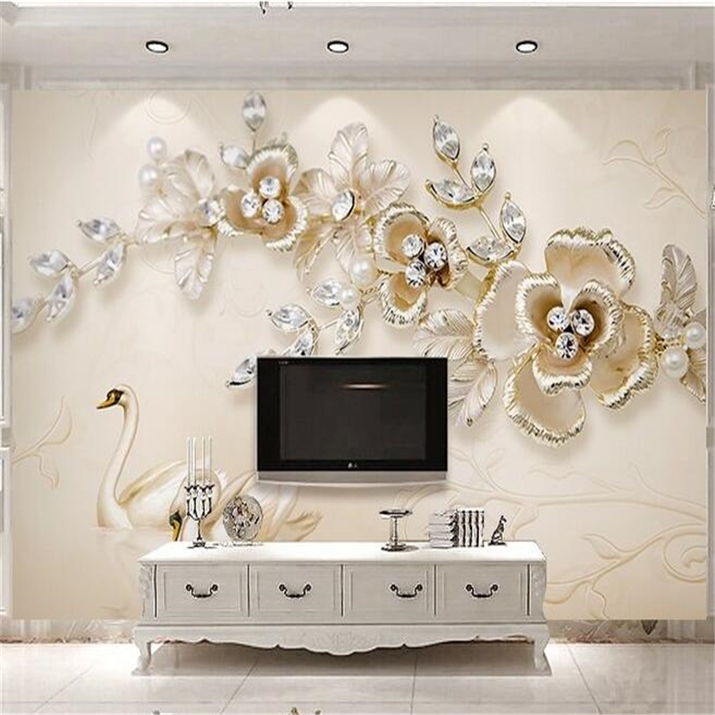 beibehang Custom photo wallpaper wall stickers copyright picture 3d stereo luxury european swan jewelery flowers TV backdrop(China)