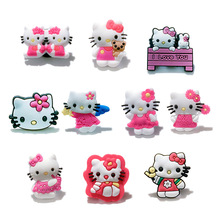 Free shipping Hot promotion 50-60pcs/lot Hello Kitty PVC shoe charms shoe accessories shoe decoration for croc jibz kids gift(China)