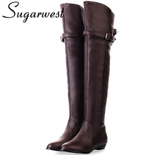 Sugarwest Big Size 34-43 Buckle Thigh High Boots Women Fashion Flats Shoes Knight Female Boots Botas Femininas WW986