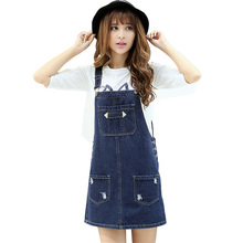 2017 Summer Style Loose Strap Jeans Dress Preppy Style Suspender Denim Sundress Denim Overall Dress(China)