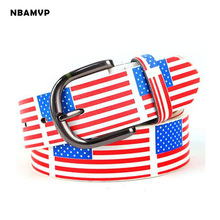 2017 new fashion men's Belt ladies belt men white blue red donkey flag grid striped belts free shipping YS114