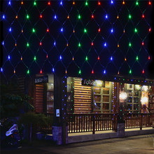1.5X1.5M 96LED String Lights Outdoor Christmas Decorative Wedding Net Mesh String Fairy Curtain Garlands Strip Holiday Light(China)