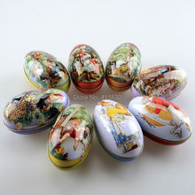 8pc/lot Large size easter eggs tin candy storage box easter decoration