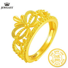 24k Pure Gold Jewelry Queen's Crown 999 solid Gold Ring Grind Arenaceous Relief Have Qualitative Feeling Adjustable Ring(China)