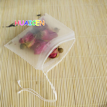 100Pcs/lot New Pyramid Nylon Tea Bags Empty Transparent Nylon Teabags with String Filter Tea Bag(China)
