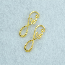 15pcs  Gold color infinity LOVE Charms Necklace Pendant Bracelet Jewelry Making Handmade Crafts diy Supplies 39*15mm 1519