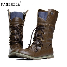 FANILINA Plus Size 32-52 Vintage Motorcycle Ankle Boots Women Winter Autumn Snow Boots Leather Flats Motorcycle Boots Shoes