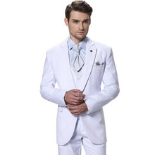 Elegant White Men's Formal suits Groom Wedding Dress Blazer men's dancing party Tuxedo formal occasion wear (jacket+pants+vest)