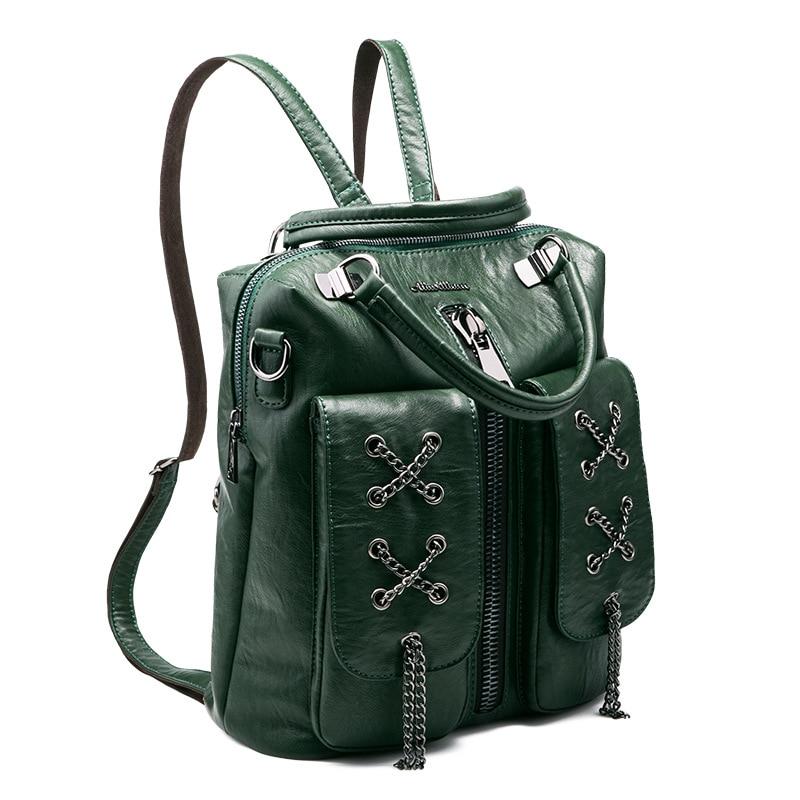 Fashion Women Backpack 2017 Newest Stylish Cool Chain Black PU Leather Backpack Female Hot Sale Women shoulder bag school bags<br>