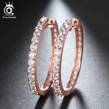 ORSA JEWELS 2017 Rose Gold Color Big Hoop Earring Paved Luxury AAA Cubic Zirconia Fashion Women Round Loop CZ Earrings OE143(China)