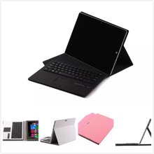 "Removable Wireless Bluetooth Russian/Hebrew/Spanish Touchpad Keyboard Stand PU Leather Case For Microsoft Surface 3 10.8"" Tablet(China)"